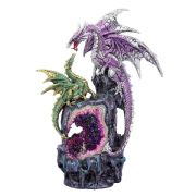 Dragon Mother and Baby Crystal Geode Sculpture Statue Figurine Ornament Gift